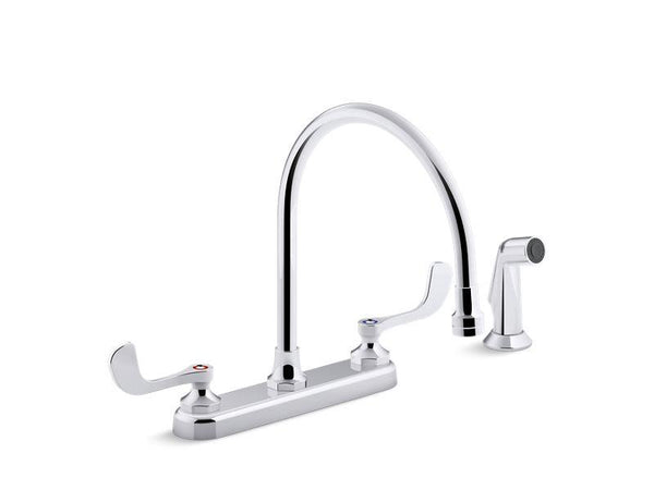 "Kohler 810T71-5AFA-CP Triton Bowe 1.8 gpm kitchen sink faucet with 9-5/16"" gooseneck spout, matching finish sidespray, aerated flow and wristblade handles"