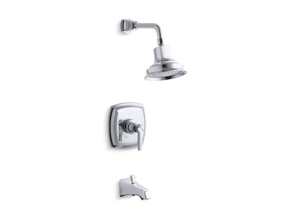 Kohler TS16225-4-CP Margaux Rite-Temp bath and shower trim set with lever handle and NPT spout, valve not included-Tub Shower Trim-HomePlumbing