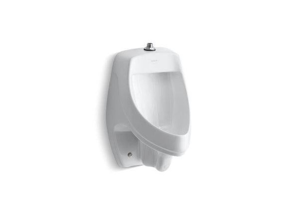 Kohler 5016-ETSS-0 Dexter siphon-jet wall-mount 0.5 or 1.0 gpf urinal with top spud, antimicrobial-Urinals-HomePlumbing
