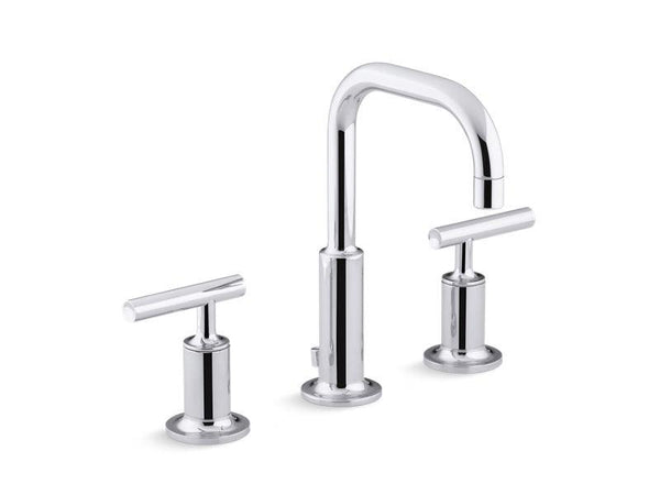 Kohler 14406-4-CP Purist® Widespread bathroom sink faucet with low lever handles and low gooseneck spout-Sink Faucets-HomePlumbing
