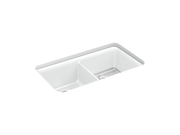 "Kohler 8199-CM6 Cairn 33-1/2"" x 18-5/16"" x 10-1/8"" Neoroc under-mount double-equal kitchen sink with sink rack-Kitchen Sinks-HomePlumbing"