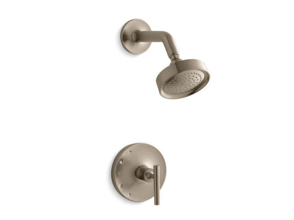 Kohler TS14422-4-BV Purist Rite-Temp shower valve trim with lever handle and 2.5 gpm showerhead-Shower Trim-HomePlumbing