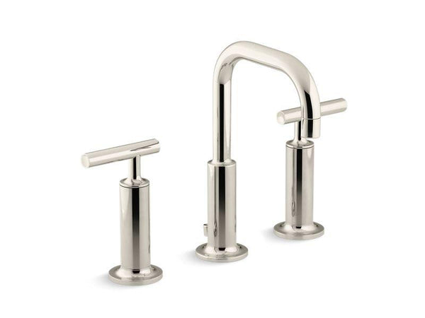 Kohler 14407-4-SN Purist® Widespread bathroom sink faucet with high lever handles and low gooseneck spout-Sink Faucets-HomePlumbing