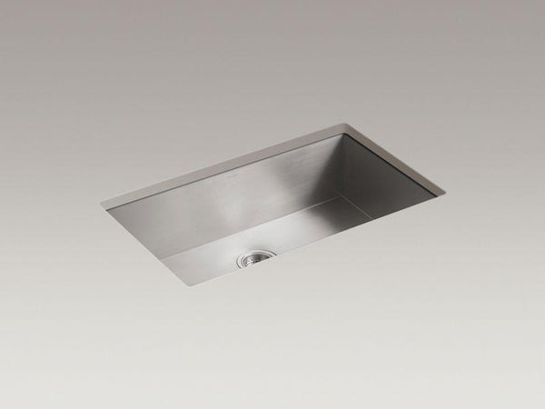"Kohler 3821-NA Vault 32"" x 18-5/16"" x 9-5/16"" under-mount large single-bowl kitchen sink with no faucet holes-Kitchen Sinks-HomePlumbing"
