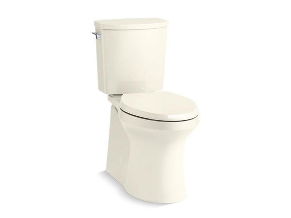 Kohler 20450-96 Irvine™ Comfort Height® two-piece elongated 1.28 gpf toilet with skirted trapway, Revolution 360® swirl flushing technology and left-hand trip lever, seat not included - HomePlumbing