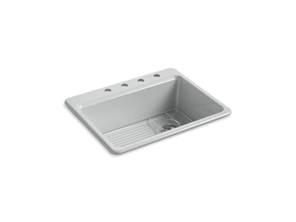 "Kohler 8668-4A1-95 Riverby 27"" x 22"" x 9-5/8"" top-mount single-bowl kitchen sink with bottom sink rack and 4 faucet holes-Kitchen Sinks-HomePlumbing"