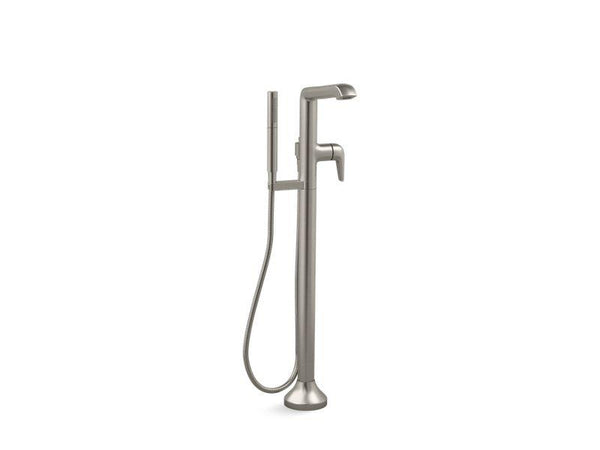 Kohler T22025-4-BN floor-mount bath filler trim with handshower-Tub Faucets-HomePlumbing