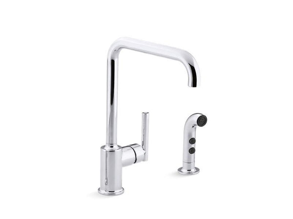 Kohler 7508-CP Purist® two-hole kitchen sink faucet with 8 spout and matching finish sidespray-Kitchen Sink Faucets-HomePlumbing