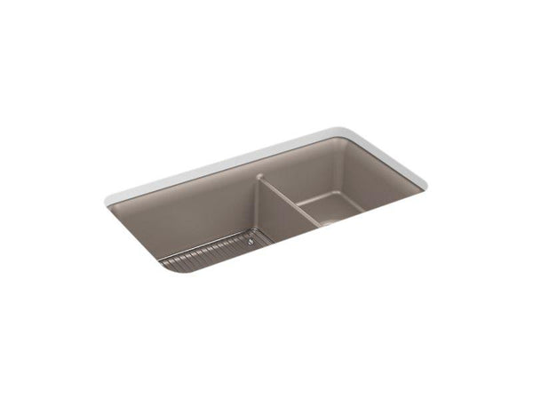 "Kohler 8204-CM3 Cairn 33-1/2"" x 18-5/16"" x 10-1/8"" Neoroc under-mount large/medium double-bowl kitchen sink with sink rack-Kitchen Sinks-HomePlumbing"