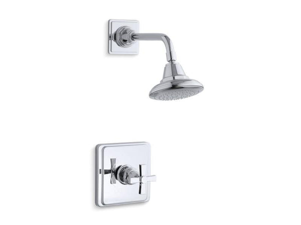 Kohler TS13134-3A-CP Pinstripe Pure Rite-Temp shower valve trim with cross handle and 2.5 gpm showerhead-Shower Trim-HomePlumbing