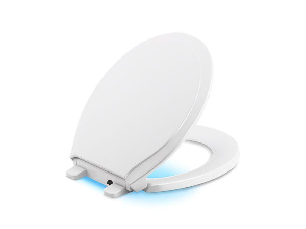 Kohler 78059-0 Rutledge Nightlight Quiet-Close with Grip-Tight round-front toilet seat - HomePlumbing