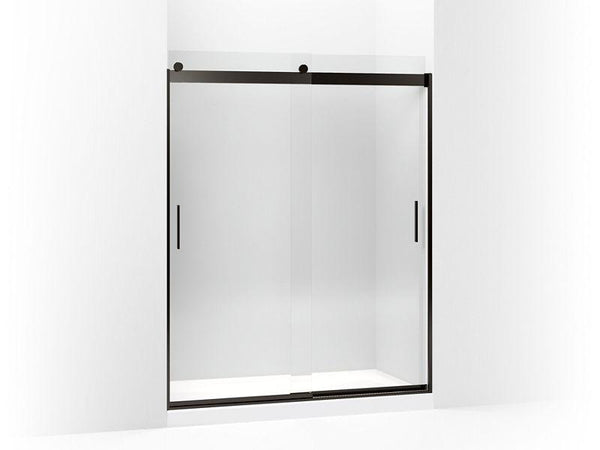 "Kohler 706009-L-ABZ Levity sliding shower door, 74"" H x 56-5/8 - 59-5/8"" W, with 1/4"" thick Crystal Clear glass and blade handles-Shower Doors-HomePlumbing"
