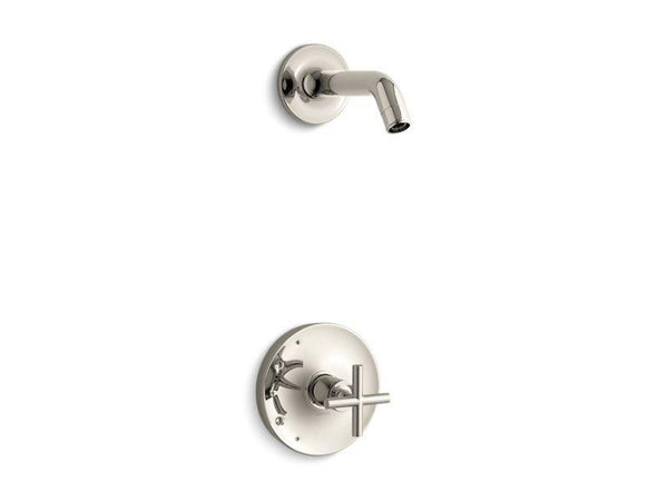 Kohler TLS14422-3-SN Purist Rite-Temp shower valve trim with cross handle, less showerhead-Shower Trim-HomePlumbing