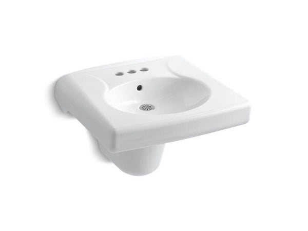 "Kohler 1999-SS4-0 Brenham wall-mounted or concealed carrier arm mounted commercial bathroom sink with 4"" centerset faucet holes and shroud, antimicrobial finish-Sinks-HomePlumbing"