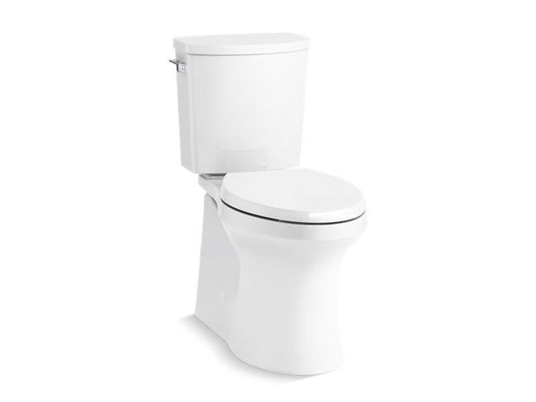 Kohler 20450-0 Irvine™ Comfort Height® two-piece elongated 1.28 gpf toilet with skirted trapway, Revolution 360® swirl flushing technology and left-hand trip lever, seat not included