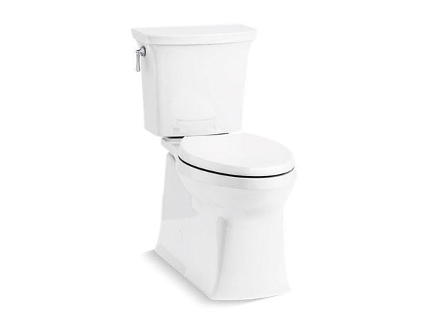 Kohler 5709-0 Corbelle with ContinuousClean Comfort Height two-piece elongated 1.28 gpf toilet with skirted trapway, left-hand trip lever and Revolution 360 swirl flushing technology, seat not included - HomePlumbing