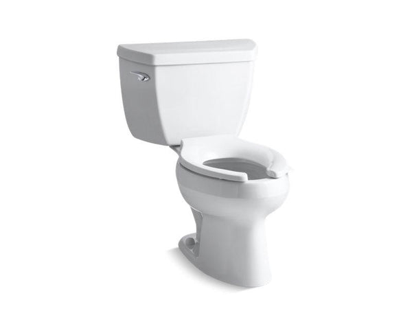 Kohler 3505-SS-0 Wellworth Classic two-piece elongated 1.6 gpf toilet with Pressure Lite flushing technology, left-hand trip lever and antimicrobial finish, less seat-Commercial Toilets-HomePlumbing