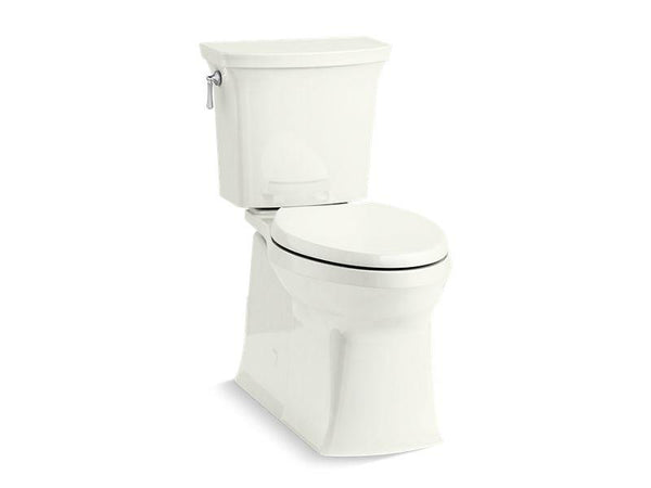 Kohler 5709-NY Corbelle with ContinuousClean Comfort Height two-piece elongated 1.28 gpf toilet with skirted trapway, left-hand trip lever and Revolution 360 swirl flushing technology, seat not included - HomePlumbing