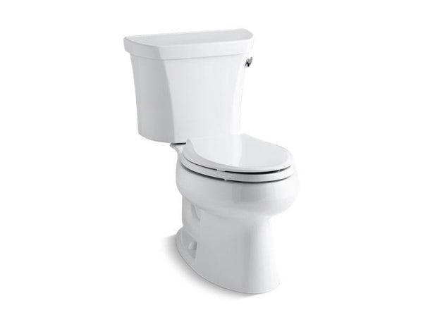 Kohler 3998-RZ-0 Wellworth® two-piece elongated 1.28 gpf toilet with Class Five® flush technology, right-hand trip lever, Insuliner® tank liner and tank cover locks, seat not included-Toilets-HomePlumbing