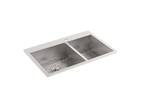 Kohler 3823-1-NA Vault(TM) 33 x 22 x 9-5/16 top-/under-mount large/medium double-bowl kitchen sink with single faucet hole-Kitchen Sinks-HomePlumbing