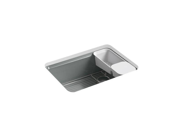 "Kohler 8668-5UA2-FT Riverby 27"" x 22"" x 9-5/8"" under-mount single-bowl kitchen sink with accessories and 5 oversized faucet holes-Kitchen Sinks-HomePlumbing"
