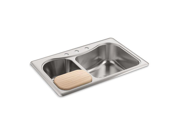 Kohler 3361-4-NA Staccato(TM) 33 x 22 x 8-5/16 top-mount large/medium double-bowl kitchen sink with 4 faucet holes-Kitchen Sinks-HomePlumbing