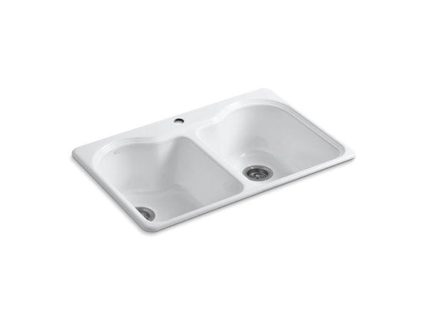 Kohler 5818-1-0 Hartland 33 x 22 x 9-5/8 top-mount double-equal kitchen sink with single faucet hole-Kitchen Sinks-HomePlumbing