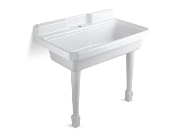 Kohler 6607-1-0 Harborview(TM) 48 x 28 x 41-11/16 top-mount or wall-mount utility sink with single faucet hole on center deck-Kitchen Sinks-HomePlumbing