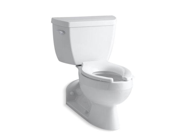Kohler 3652-T-0 Barrington(TM) two-piece elongated 1.0 gpf toilet with Pressure Lite flushing technology, left-hand trip lever and toilet tank locks-Commercial Toilets-HomePlumbing
