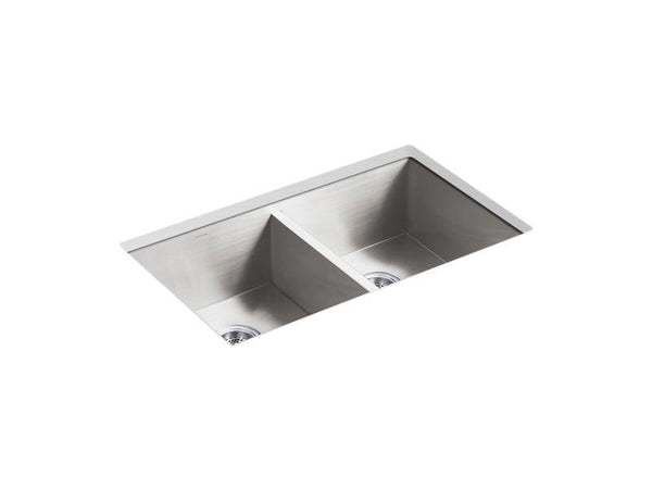"Kohler 3820-NA Vault 32"" x 18-5/16"" x 9-7/16"" under-mount double-equal kitchen sink-Kitchen Sinks-HomePlumbing"