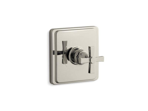 Kohler TS13135-3A-SN Pinstripe Pure Rite-Temp valve trim with cross handle-Handle Trim-HomePlumbing