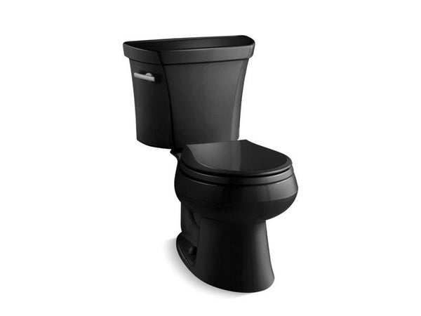 Kohler 3997-T-7 Wellworth® two-piece round-front 1.28 gpf toilet with Class Five® flush technology, left-hand trip lever and tank cover locks, seat not included-Toilets-HomePlumbing