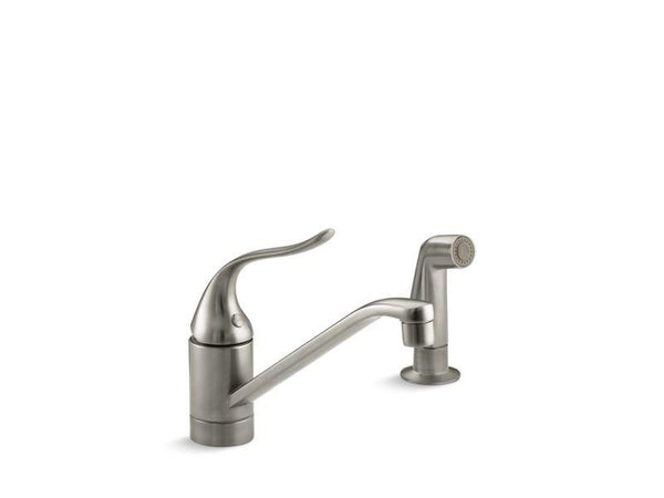 Kohler 15176-F-BN Coralais® two-hole kitchen sink faucet with 8-1/2 spout, matching finish sidespray and lever handle-Kitchen Sink Faucets-HomePlumbing