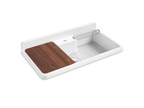 "Kohler 21103-1HW-0 Farmstead 45"" x 25"" x 9"" top-mount/wall-mount kitchen sink with single faucet hole, white underside-Kitchen Sinks-HomePlumbing"