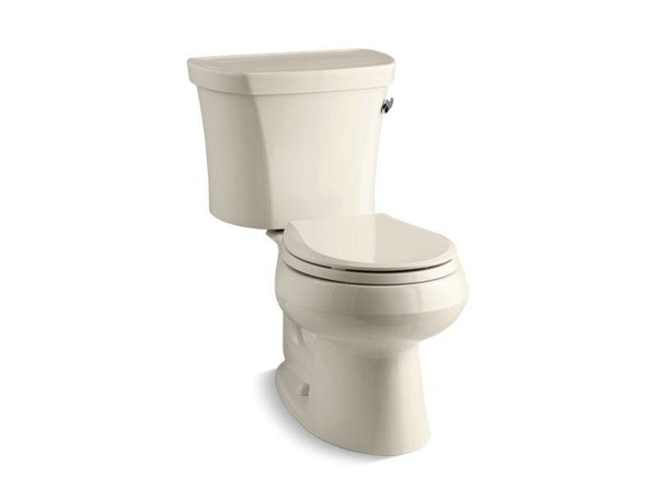 Kohler 3947-RZ-47 Wellworth® two-piece round-front 1.28 gpf toilet with Class Five® flush technology, right-hand trip lever, Insuliner® tank liner and tank cover locks, seat not included-Toilets-HomePlumbing