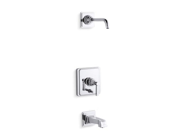 Kohler T13133-4BL-CP Pinstripe Rite-Temp bath and shower trim set with push-button diverter and lever handle, less showerhead-Tub Shower Trim-HomePlumbing