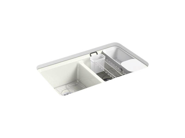 "Kohler 8679-5UA3-NY Riverby 33"" x 22"" x 9-5/8"" under-mount double-equal kitchen sink with accessories and 5 oversized faucet holes-Kitchen Sinks-HomePlumbing"