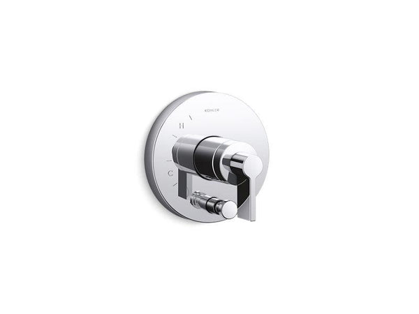 Kohler T78016-4-CP Components Rite-Temp shower valve trim with diverter and Lever handle-Shower Trim-HomePlumbing