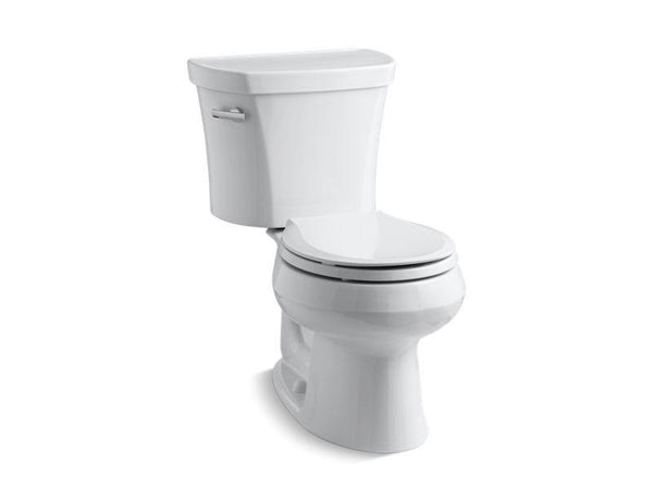 Kohler 3947-0 Wellworth® two-piece round-front 1.28 gpf toilet with Class Five® flush technology and left-hand trip lever, seat not included-Toilets-HomePlumbing