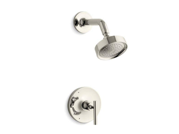 Kohler TS14422-4-SN Purist Rite-Temp shower valve trim with lever handle and 2.5 gpm showerhead-Shower Trim-HomePlumbing