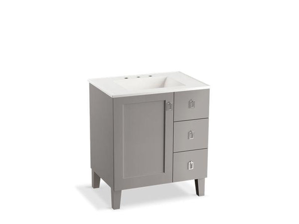 "Kohler 99530-LGR-1WT Poplin 30"" bathroom vanity cabinet with legs, 1 door and 3 drawers on right-Vanities-HomePlumbing"