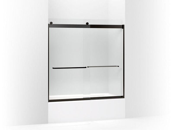 "Kohler 706006-L-ABZ Levity sliding bath door, 59-3/4"" H x 56-5/8 - 59-5/8"" W, with 1/4"" thick Crystal Clear glass and towel bars-Shower Doors-HomePlumbing"