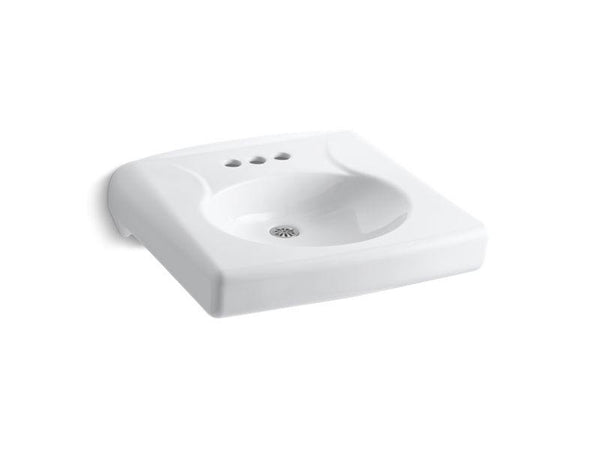 "Kohler 1997-SS4N-0 Brenham wall-mounted or concealed carrier arm mounted commercial bathroom sink with 4"" centerset faucet holes and no overflow, antimicrobial finish-Sinks-HomePlumbing"