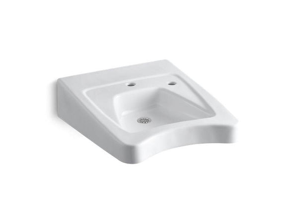 Kohler 12638-R-0 Morningside(TM) 20 x 27 wall-mount/concealed arm carrier wheelchair bathroom sink with single faucet hole and right-hand soap dispenser hole-Sinks-HomePlumbing