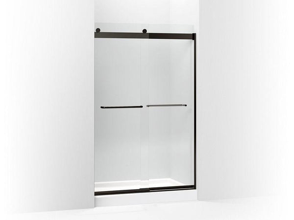 "Kohler 706014-L-ABZ Levity sliding shower door, 74"" H x 44-5/8 - 47-5/8"" W, with 1/4"" thick Crystal Clear glass and towel bars-Shower Doors-HomePlumbing"