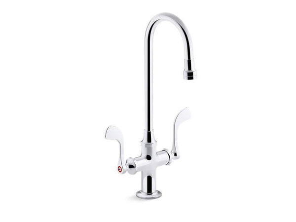 Kohler 100T70-5ANL-CP Triton Bowe 0.5 gpm monoblock gooseneck bathroom sink faucet with laminar flow and wristblade handles, drain not included-Commercial Faucets-HomePlumbing