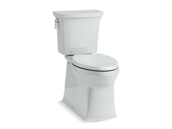 Kohler 5709-95 Corbelle with ContinuousClean Comfort Height two-piece elongated 1.28 gpf toilet with skirted trapway, left-hand trip lever and Revolution 360 swirl flushing technology, seat not included - HomePlumbing