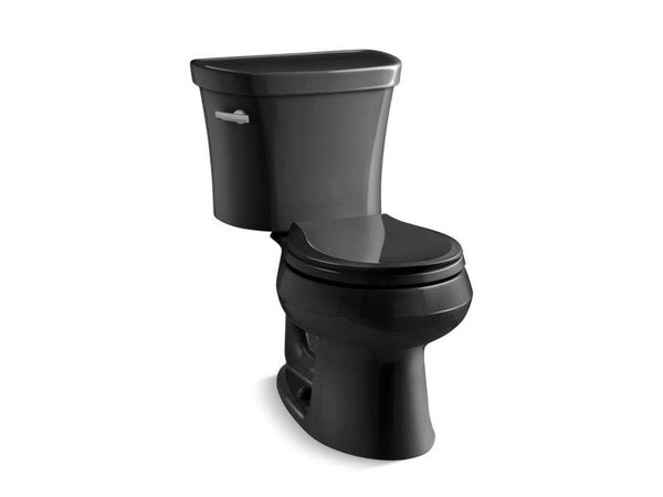 Kohler 3947-T-7 Wellworth® two-piece round-front 1.28 gpf toilet with Class Five® flush technology, left-hand trip lever and tank cover locks, seat not included-Toilets-HomePlumbing