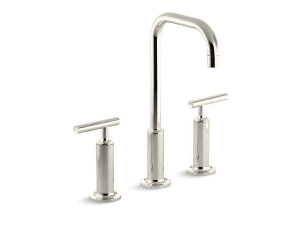 Kohler 14408-4-SN Purist® Widespread bathroom sink faucet with high lever handles and high gooseneck spout-Sink Faucets-HomePlumbing