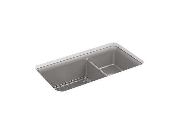 "Kohler 8204-CM4 Cairn 33-1/2"" x 18-5/16"" x 10-1/8"" Neoroc under-mount large/medium double-bowl kitchen sink with sink rack-Kitchen Sinks-HomePlumbing"